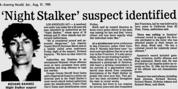 IDENTIFISERT: Arrestasjonsbildet av Richard Ramirez ble sendt rundt til alle aviser på vestkysten. Her i Evening Herald. FOTO: Skjermdump/Twitter