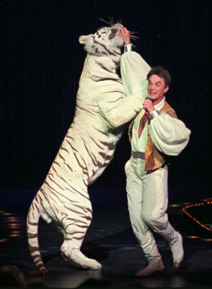 STORHETSTIDEN: Roy Horn på scenen i Las Vegas i 2002. FOTO: NTB