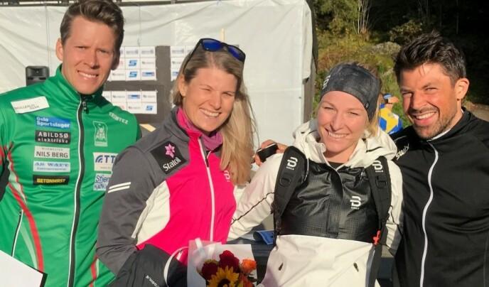 NÆRE VENNER: Mari Eide og storesøsteren Ida Eide fant begge kjærligheten med to aktive og sportsglade menn. Mari er kjæreste med langrennsløper Anders Gløersen, mens Ida var samboer med komiker og hobby-skiløper Nils-Ingar Aadne. De fire hadde et svært nært forhold. Dette bildet er tatt etter et løp i Oslo. FOTO: Privat