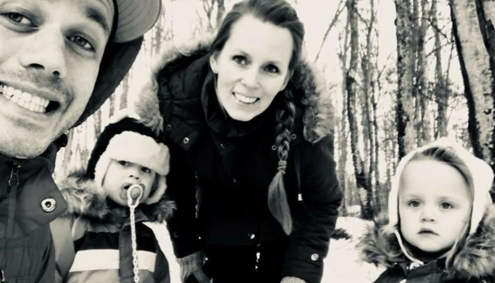 TVILLINGFORELDRE: Cathrine og samboer Remi fikk seg en overraskelse da ultralydundersøkelsen viste at hverken Trym eller Stella hadde lagt seg med hodet ned før fødselen. FOTO: Privat