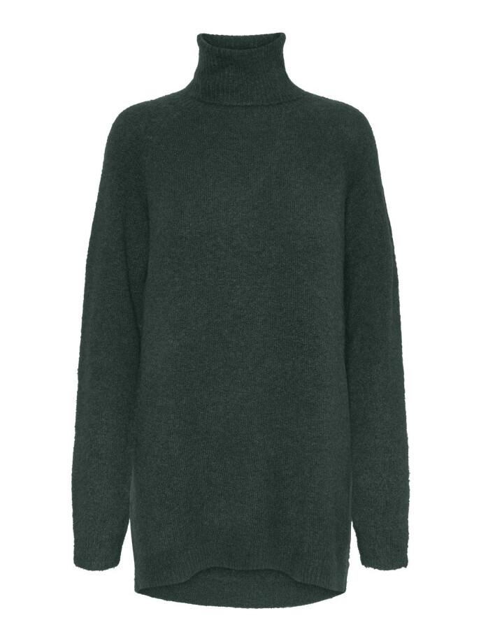 Lang strikkegenser (kr 350, Vero Moda).