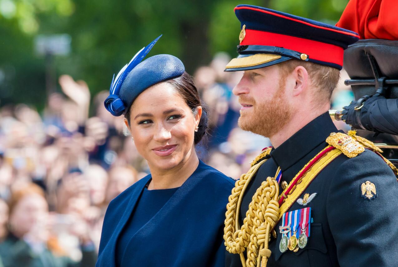 GLØD: Én måned etter at sønnen ble født, viste Meghan seg offentlig for første gang - da under Trooping the Colour-feiringen av dronning Elizabeths 93-årsdag i juni 2019. FOTO: NTB