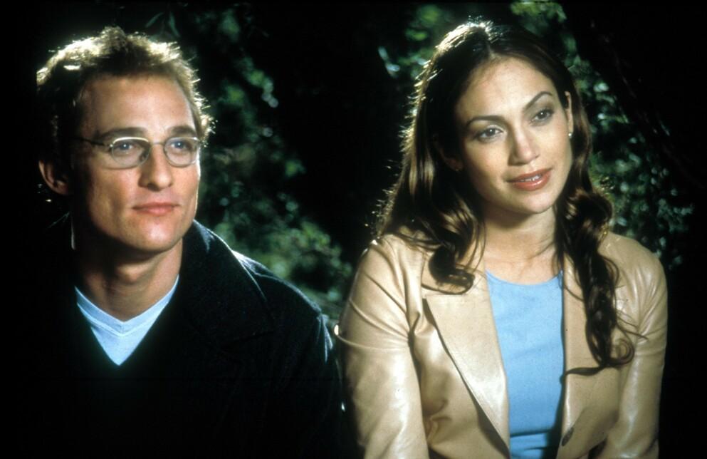 20 ÅR SIDEN: Matthew McConaughey som Steve Edison og Jennifer Lopez som bryllupsplanlegger Mary Fiore i «The Wedding Planner» fra 2001. FOTO: NTB