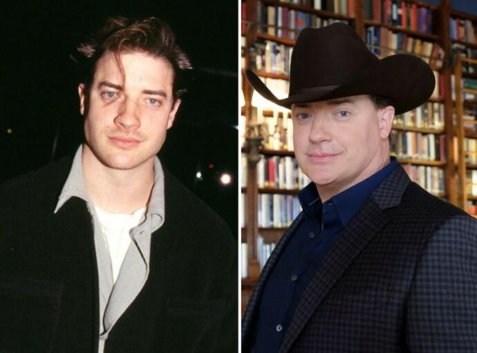 DA OG NÅ: Brendan Fraser i 1999 til venstre og i 2018 til høyre. FOTO: NTB