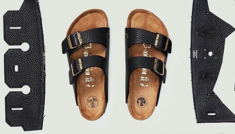 SKO TIL EN HALV MILLION: Mschf har laget sandaler som ligner på Birkenstock, men som er laget av Hermès-vesker og dermed har fått en skyhøy prislapp. Foto: Skjermdump fra Instagram