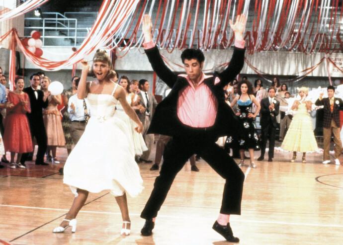 KONGEN AV PARKETTEN: John Travolta og Olivia Newton John i klassikeren Grease i 1978. FOTO: NTB