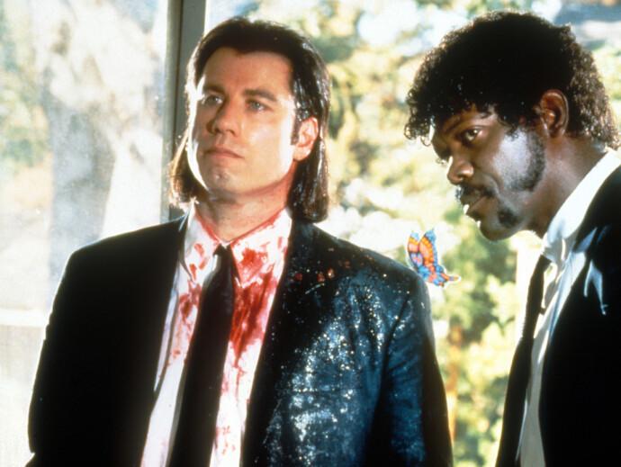SNAKK OM COMEBACK: John Travolta og Samuel L. Jackson i Quentin Tarantinos klassiker «Pulp Fiction». FOTO: NTB
