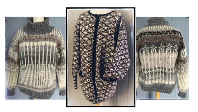 SE SÅ FINT: Aminda Bruun, en av Woolits strikkere, har laget disse plaggene. Foto: Privat