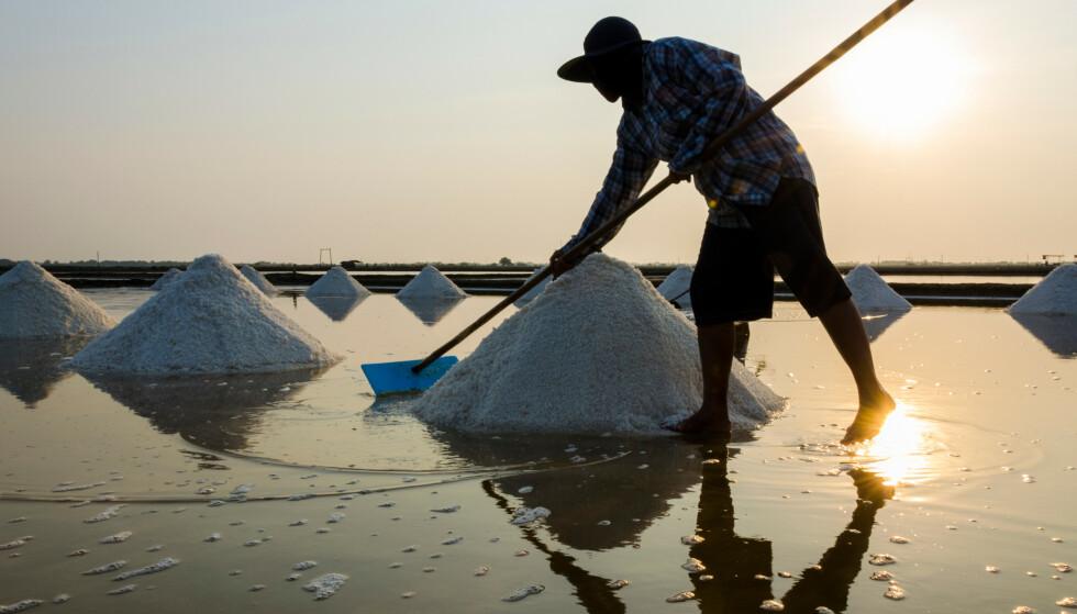 HAVSALT: Salt utvinnes flere steder i verden. Her er en saltarbeider i full sving i Thailand. FOTO: NTB