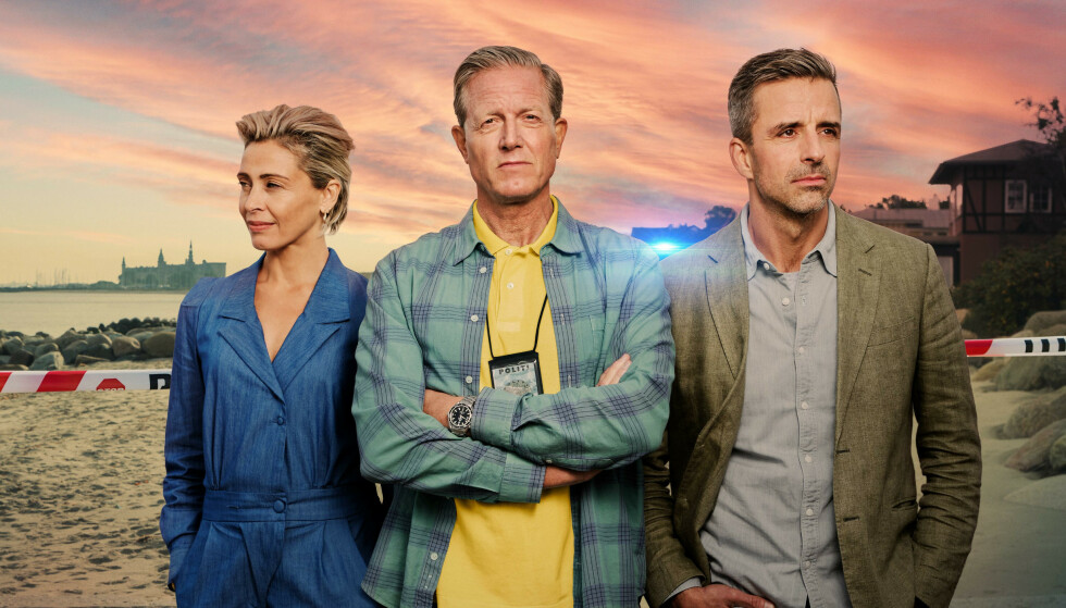 SOMMERDAHL-MORDENE: Marianne Sommerdahl (Laura Drasbæk), Dan Sommerdahl (Peter Mygind) og Flemming Torp (André Babikian) er tre av karakterene i påskekrim-serien Sommerdahl-mordene. FOTO: TV2