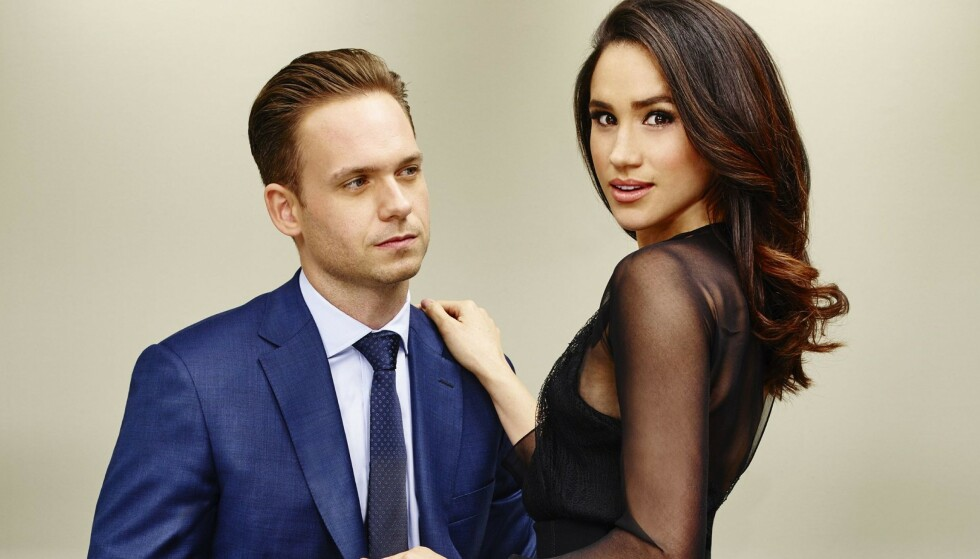 KOLLEGER: Patrick J. Adams og Meghan spilte mot hverandre i TV-serien Suits. FOTO: NTB