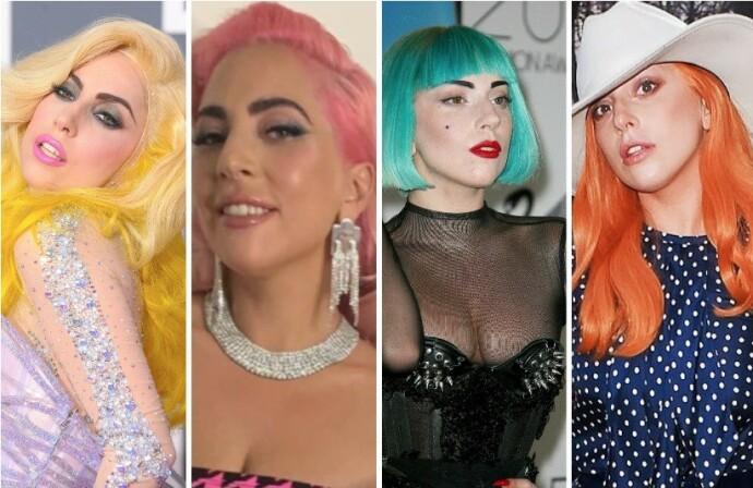 FØR: Dette er bare et lite utvalg av hårfargene og sveisene vi har sett Lady Gaga med gjennom årene. FOTO: NTB