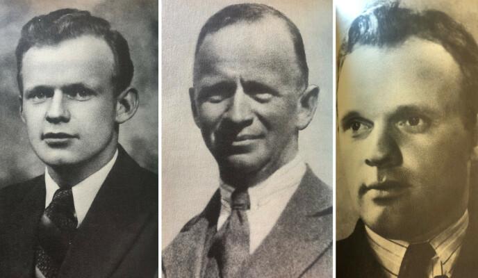 DØDE: Kaptein Gerhard Reichelt (midten) og sønnene Borti og Erik (t.h.) ble drept i kampen for fedrelandet. FOTO: Fra boken «Bittema - gjennom KZ til friheten» // Cappelen Damm