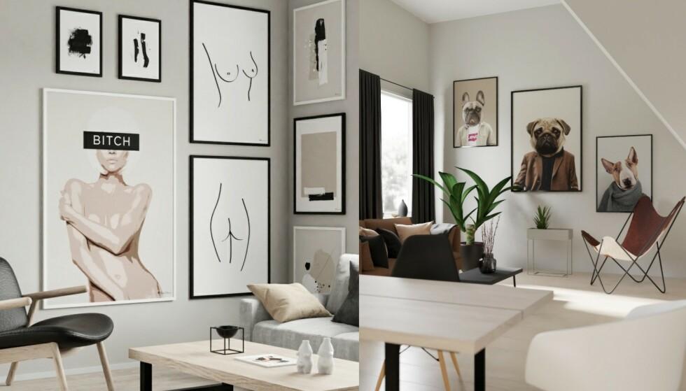 Skaper blikkfang: Man kan ikke unngå å se en vegg dekket med egdy kunst!