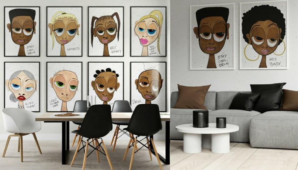Skiller seg ut: Bildene er kjempekule hver for seg, men de utgjør et helt annen blikkfang når de settes sammen som et par eller nesten som et galleri på en hel vegg.