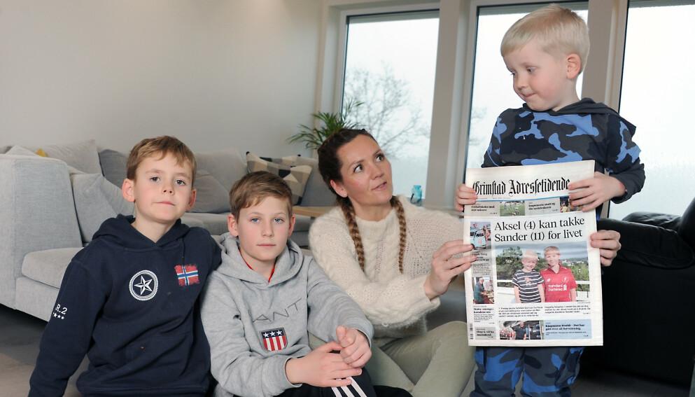 REDDET: Sander (nr to fra venstre) reagerte raskt da lillebroren lå livløs i vannet. FOTO: Marianne Otterdahl-Jensen