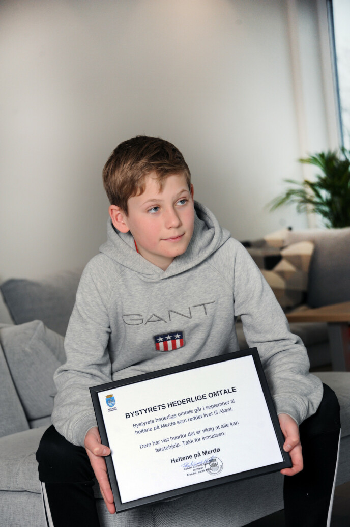 HEDER: Sander ble hedret for sin heltedåd. FOTO: Marianne Otterdahl-Jensen
