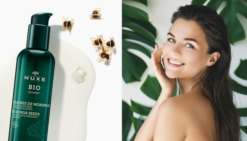 Ren hud: Micellar rens med moringafrø fungerer som en magnet, og trekker ut urenheter fra huden uten bruk av vann. Sveip over ansiktet med flere bomullspads til de ikke er skitne lengre. - Fukt bomullspadsene med vann, så forhindrer du at produktet forsvinner inne i bomullen. Da holder produktet lengre, tipser hudpleier Hilde Evine Prestegård.