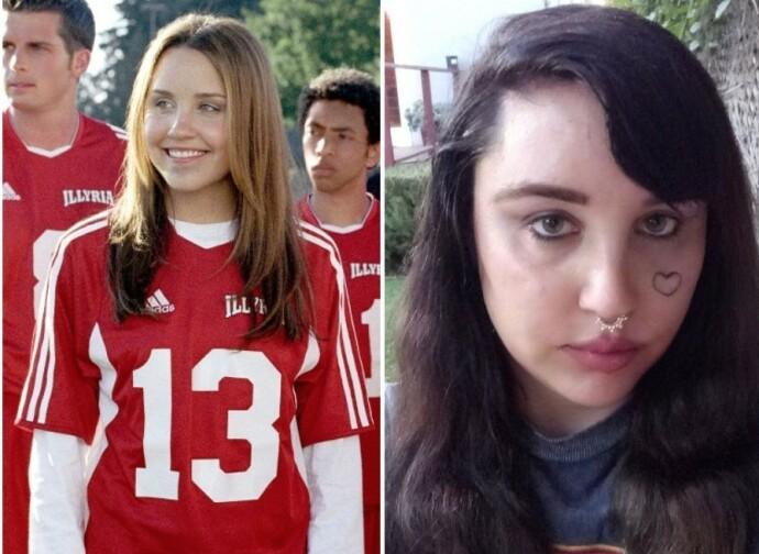 DA OG NÅ: Amanda Bynes i 2006 til venstre og i 2020 til høyre. Hun er slett ikke lett å kjenne seg igjen? FOTO: NTB
