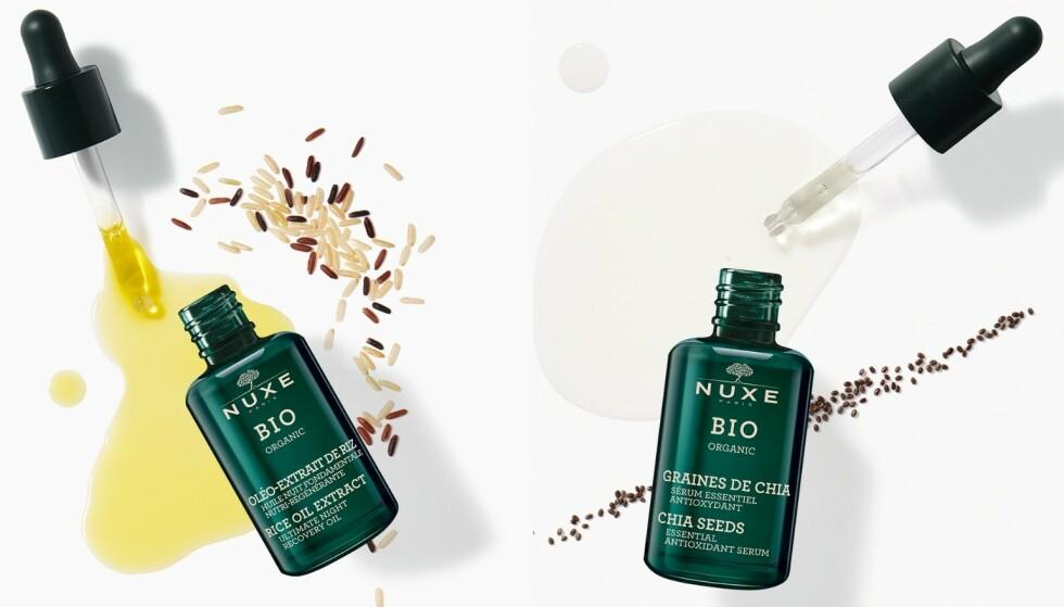 Olje og serum: Nattolje med risoljeekstrakt er rik, og nærer, fornyer, reparerer og styrker huden mens du sover. Du kan også bruke den til å berike kremen din på dagtid. Serum med chiafrøekstrakt beskytter huden mot ytre påvirkninger som UV-stråler og forurensing.