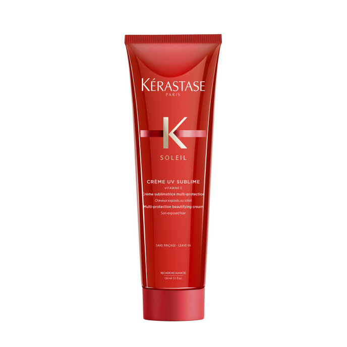 Leave in-krem med vitamin E. Brukes i lengdene for gi håret fukt og mykhet (kr 335, Crème UV Sublime). FOTO: Produsenten