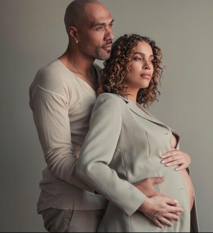 SNART TERMIN: Det er foreløpig fortsatt usikkert om hun kan få ha med kjæresten John Carew som støtte under fødselen, Pernille Juvodden har imidlertid fortsatt tro og håp om at det vil ordne seg. FOTO: Privat