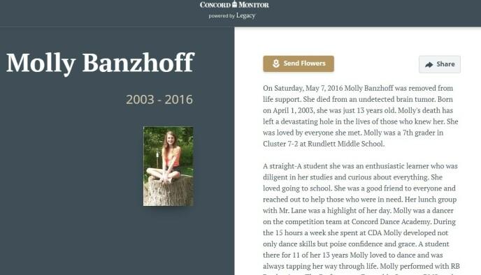 NEKROLOG: Familien har vært åpen om datteren Mollys tragiske dødsfall. FOTO: Skjermdump