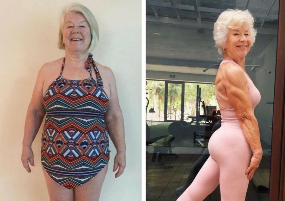 VEKTNEDGANG: Den kanadiske 74-åringen Joan MacDonald har all grunn til å være stolt av arbeidet hun har utført for egen helse. FOTO: Privat // Instagram