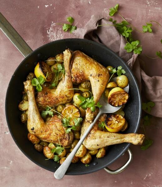 Fredag: Sitronkylling med poteter og oliven