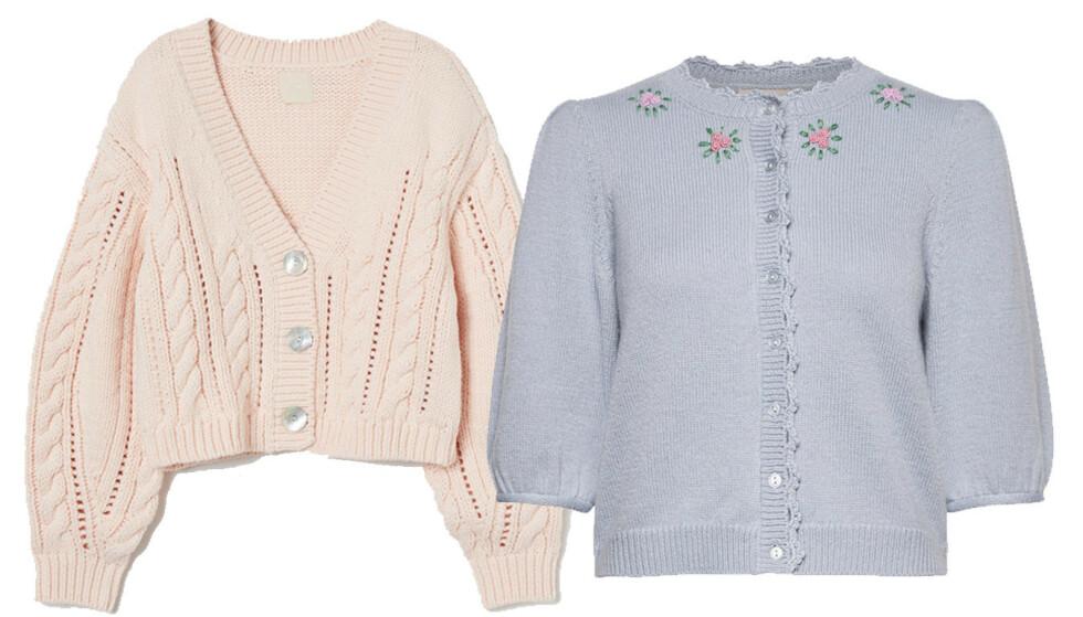 KARDIGAN: Rosa fra H&M, kr 399. Blå fra byTiMo, kr 3399.