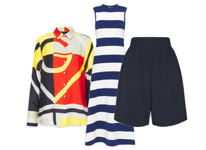 MARITIM: Skjorte fra Gant, kr 1595. Kjole fra Polo Ralph Lauren, kr 1995. Shorts fra Object, kr 399.