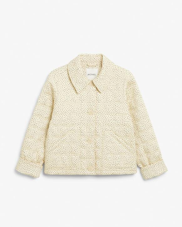 Lysegul jakke med prikker (kr 500, Monki).