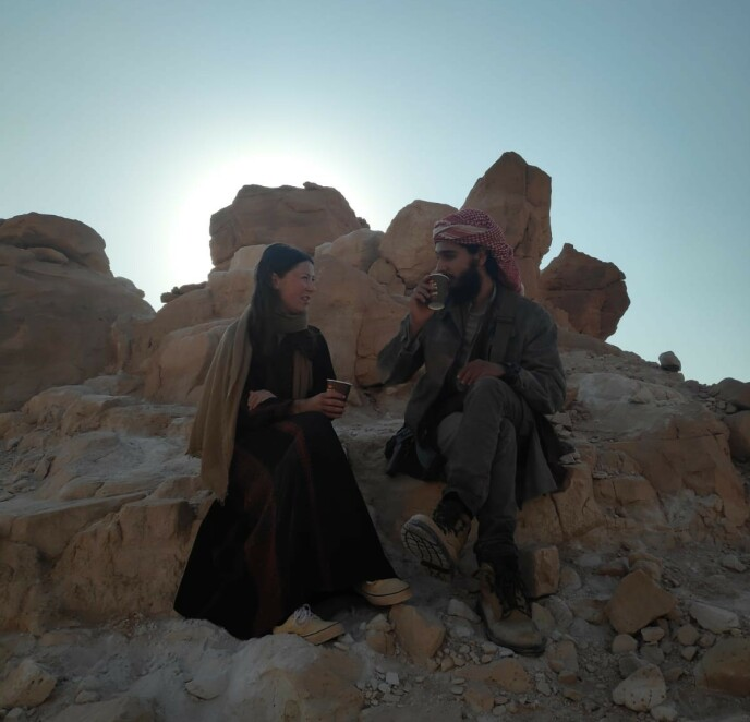 KAFFEPAUSE: Andrea og skuespillerkollega Shadi Mar'i. FOTO: Privat
