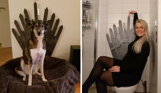 BLODFAN: Trude og hunden Nila på hver sin jerntrone. - Toalettet er ikke permanent, dessverre, men settes opp så ofte jeg kan til glede for besøkende, sier Trude til KK. FOTO: Privat
