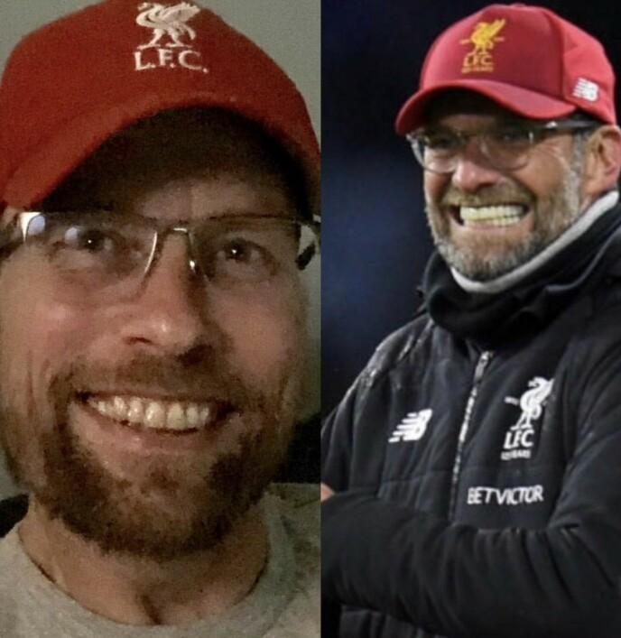 SOM TO DRÅPER VANN: Henriette Steenstrup ga rollen som fotballtrener i Pørni-serien til ektemannen Rune Assmann (t.v.), nettopp fordi han ligner på Liverpool-trener Jürgen Klopp. FOTO: Privat