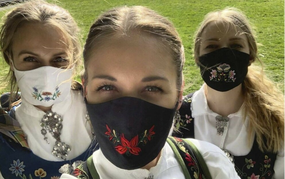 POPULÆRE MUNNBIND: Designfirmaet Oslo Unbranded selger munnbind med bunadsbroderi. Det ble snart en av firmaets bestselgere. FOTO: Oslo Unbranded/Instagram