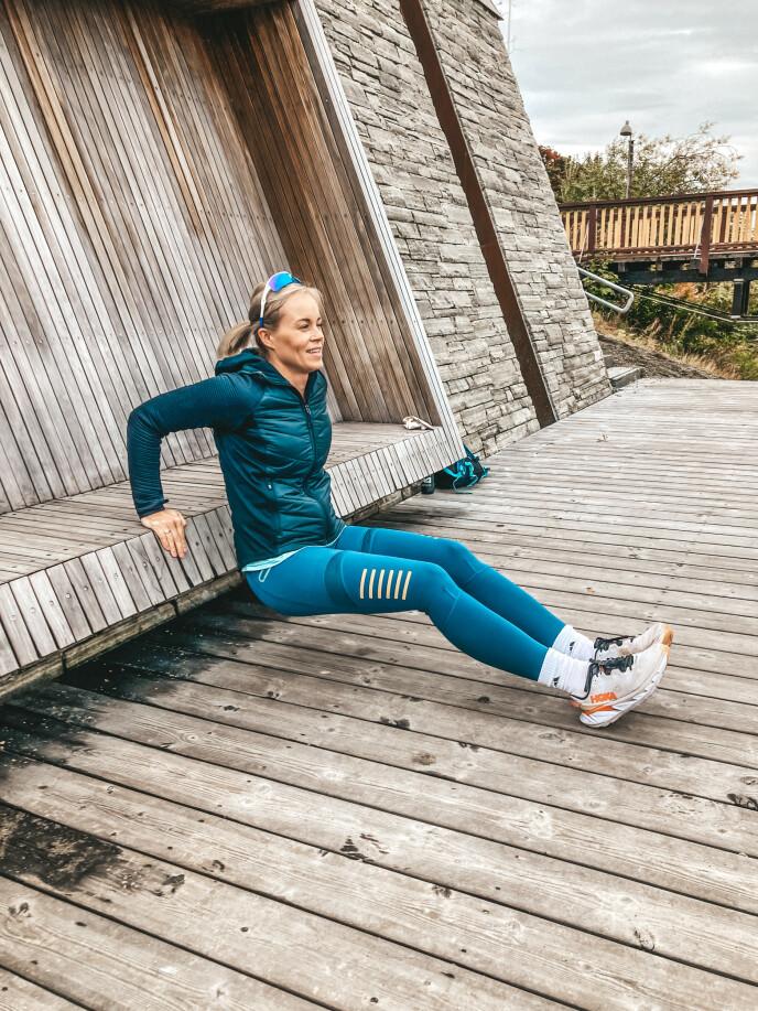 AKTIV: Sigrid ønsker at sønnen skal se hennes treningsglede og bli inspirert. FOTO: Privat