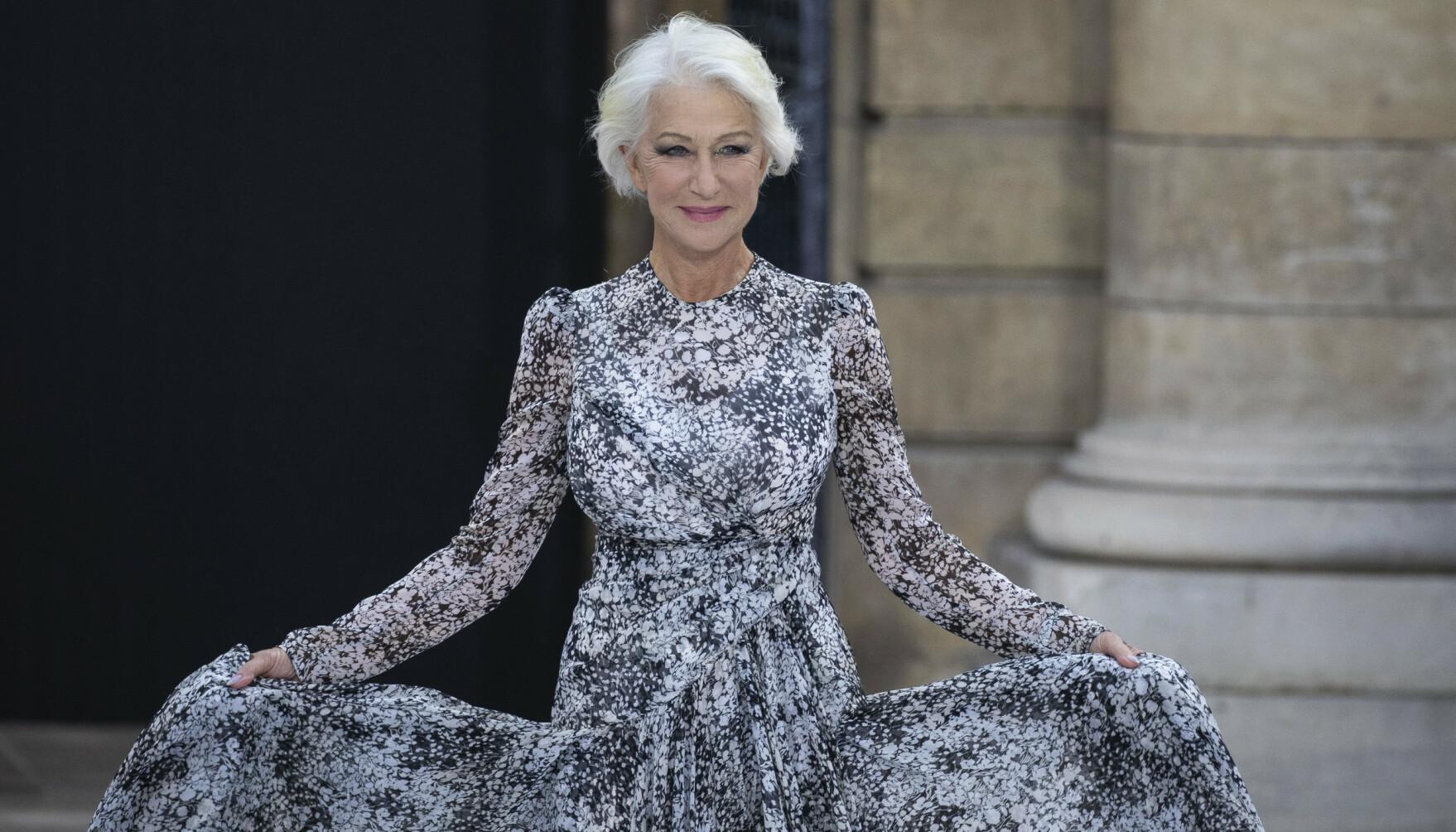 FLOTT: Den britiske skuespilleren, Helen Mirren, er kjent for sitt naturlige gråe hår. FOTO: NTB