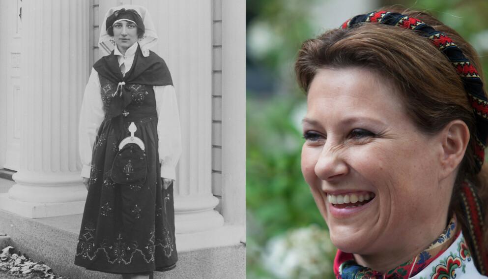 KONGELIG FAVORITT: Kronprinsesse Märtha (t.v.) fikk sin første bunad i 1929, en Sunnmørsbunad av typen Ørskog. Den dag i dag bærer den navnet «Marthabunaden». Prinsesse Märtha har hele fem bunader, inkludert en nysydd Sunnmørsbunad. FOTO: Nasjonalbiblioteket, Nina Eirin Rangøy/NTB