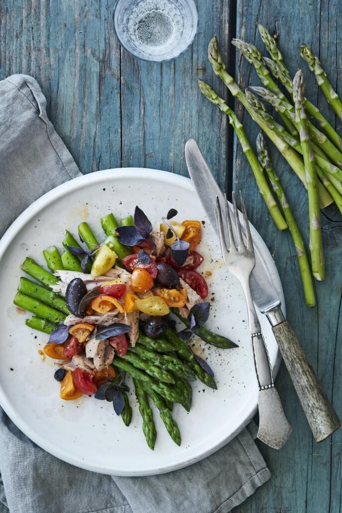 Denne retten er inspirert av den franske salade niçoise. Server den som en lett og fargerik forrett, eller nyt den som en lett hovedrett. FOTO: Stine Christiansen