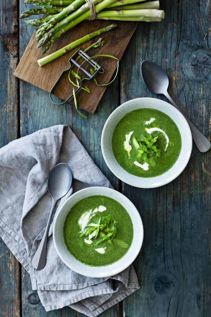 Dette er en delikat, vårlig suppe som vekker appetitten med sin vakre grønne farge og milde smak. FOTO: Stine Christiansen
