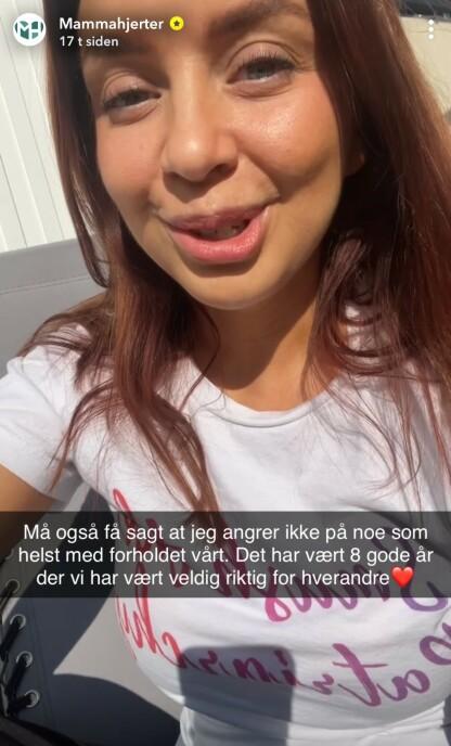 ÅPEN OG ÆRLIG: Via vlogg-kontoen Mammahjerter på Snapchat delte Tina åpent om samlivsbruddet. FOTO: Skjermdump Snapchat