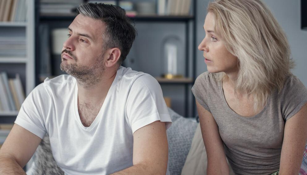 KRANGLING: - Par som krangler mye, kan leve lenge med det, med det vil ikke si at de har det så bra. Ofte er det skadelig og ofte handler det om noe dypere enn det som kommer til overflaten i kranglene, sier psykolog Ingrid Blessom. Foto: NTB