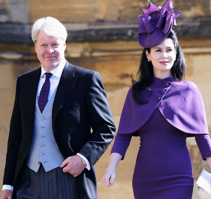 DATTER: Prins Harrys onkel Charles, niende jarl av Spencer, og kona Karen Spencer har en 12 år gammel datter som også er oppkalt etter avdøde prinsesse Diana. Her fra da de to var på vei inn til bryllupsseremonien mellom Meghan og Harry i mai 2018. FOTO: NTB