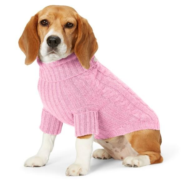 FOR FIDO SIN SKYLD? Vi investerer mer i kjæledyrene våre, mener Dyrevernalliansen. Her er en hund i kabelstrikket genser fra Ralph Lauren. FOTO: PRODUSENTEN