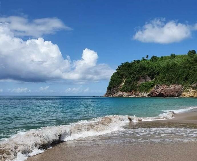 FORFEDRENES STRENDER: Hit, til øya La Desirade, kom Grys forfader som slave fra Afrika på 1700-tallet. I dag er Gry en av mange etterkommere etter ham. FOTO: Privat
