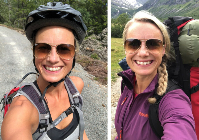 FRISKUS: Forbrukerøkonom Silje Sandmæl skal selv feriere i Norge i sommer. Her fra to tidligere turer i vårt landstrakte land. FOTO: Privat