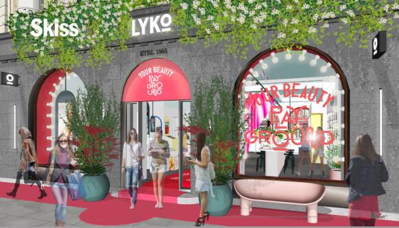 SKISSER: Slik skal den nye Lyko-butikken i Oslo se ut. FOTO: LYKO
