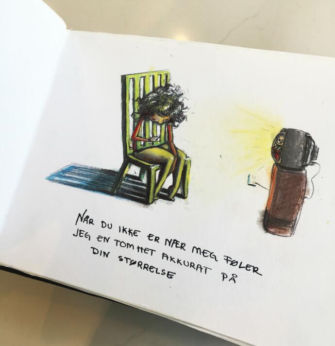 KJÆRLIGHETSERKLÆRING: De originale tegningene i Lisas aller første bok, som hun skrev til Einar, men som siden ble gitt ut. FOTO: Privat