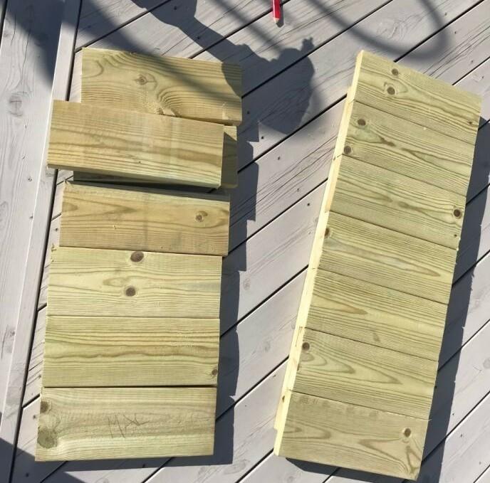 Mål opp plankene, marker og kutt dem i ønsket størrelse. Foto: Kathrine Haugholt.
